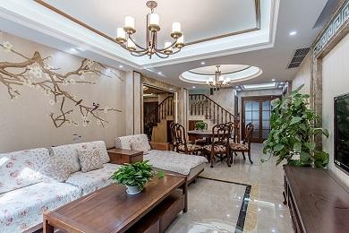 彩叠园300m²中式美式混搭别墅案例鉴赏